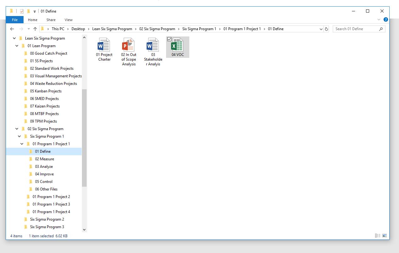 DMAIC management on PC desktop