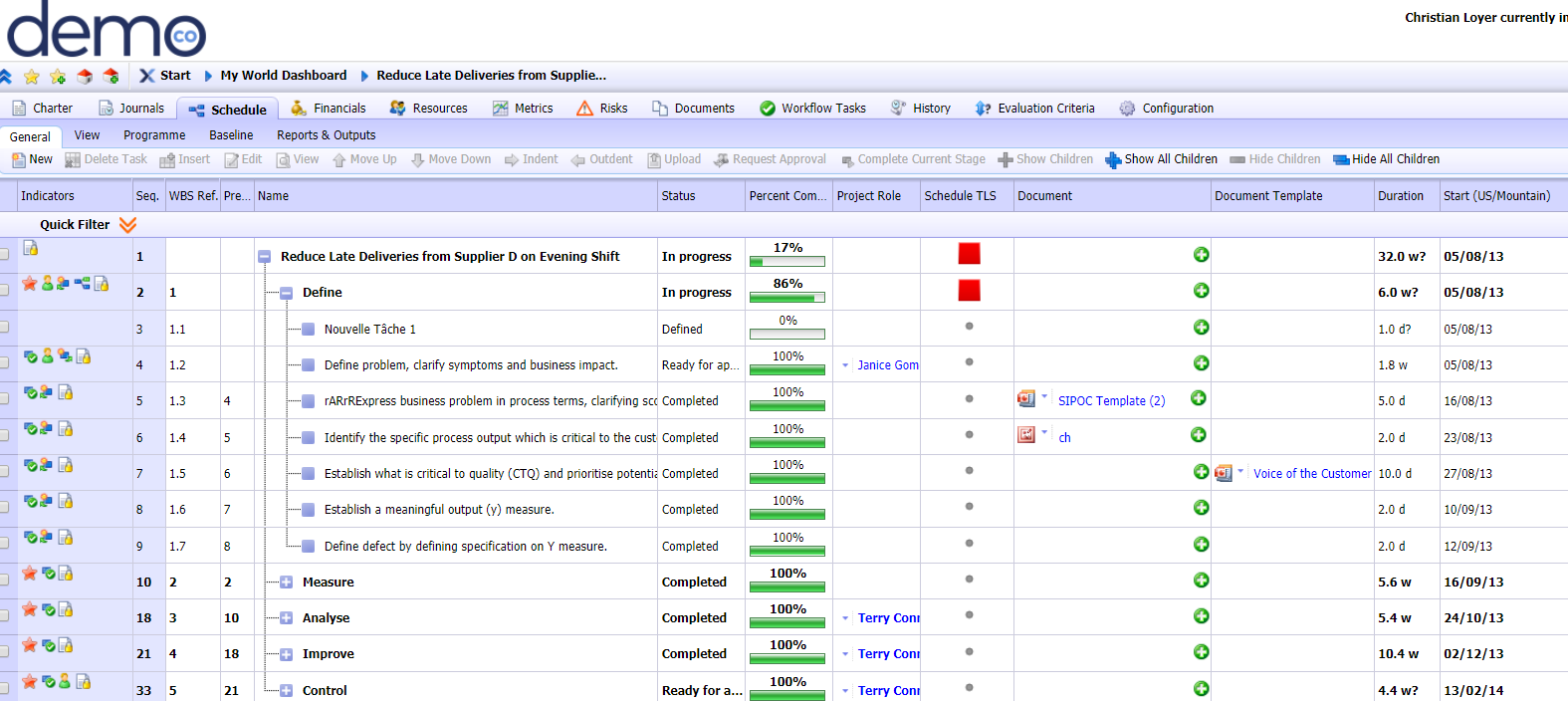 Attaching project management templates to steps within i-nexus