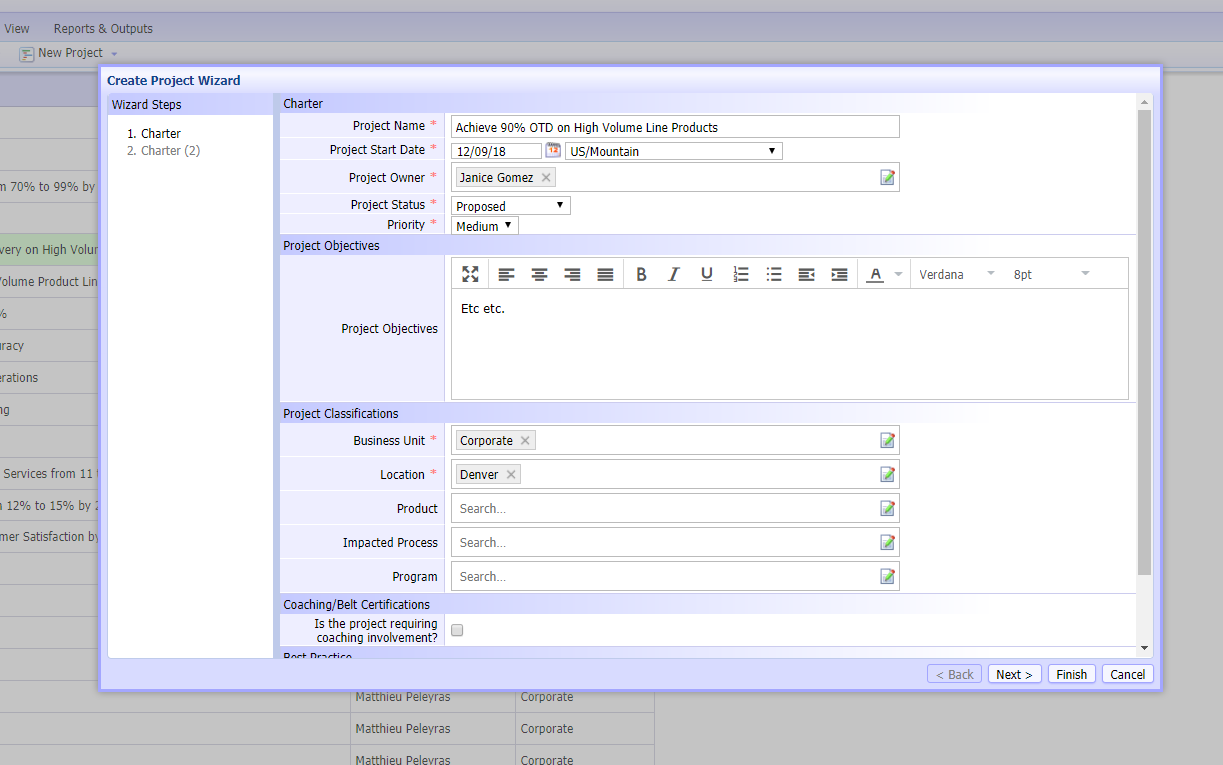 Project management wizard within i-nexus
